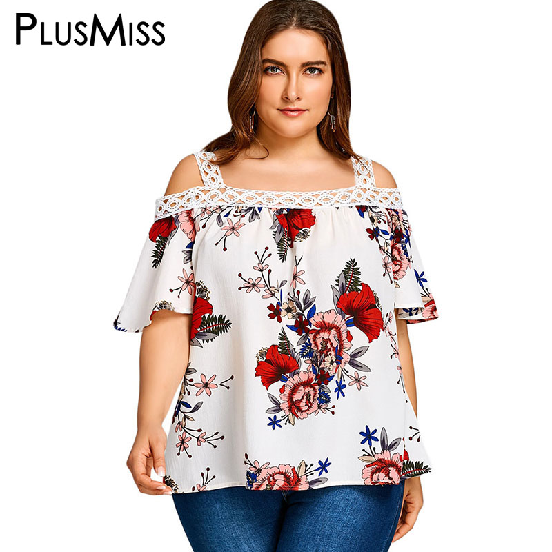 PlusMiss Plus Size 5XL Summer 2018 Sexy Cold Shoulder Floral Printed Loose Tops Women Cl ...