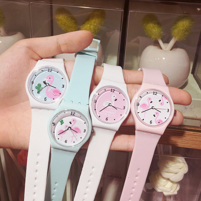 New Silicone Candy Jelly Color Student Watch Girls Clock Fashion Flamingo Watche