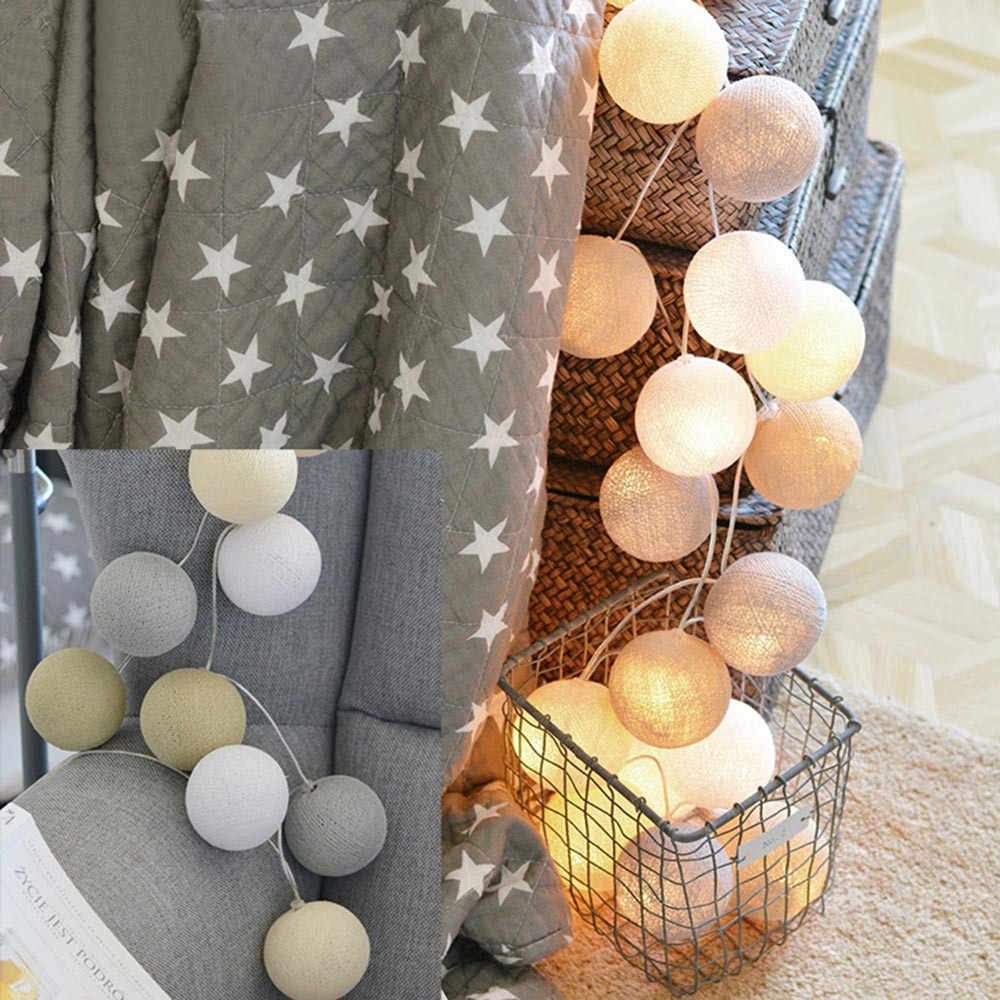 3M 20LED String Lights Cotton Ball String Lights Fairy Hanging Wedding Bedroom Living Room Patio Christmas Decorations Garland