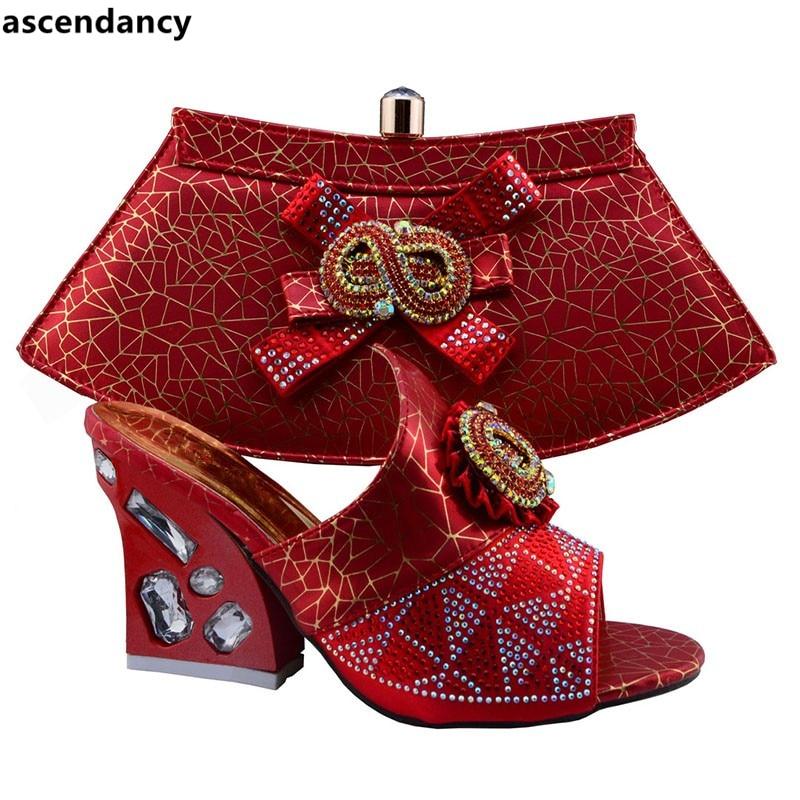 Nigeriano Color Zapatos Para Bolsa El Africanas Coincidir Conjunto Zapato Las Decorado Y Rojo Mujeres Rhinestone Bolso Coincidentes Con De Italianos rrPw5qYU