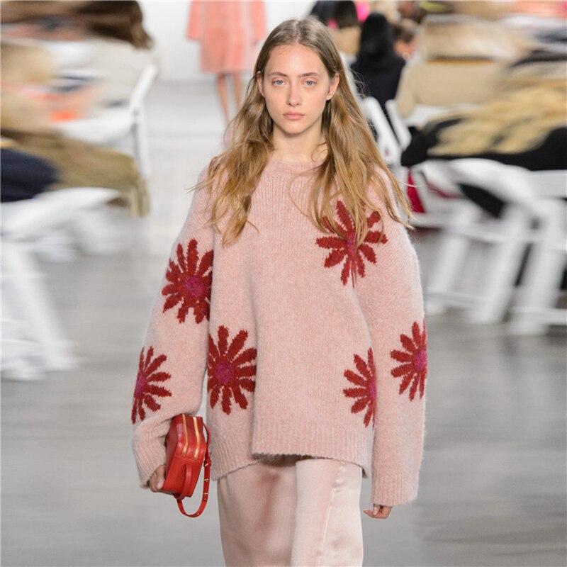 MODA NOVA hiver lâche rose chandail 2018 nouvelle mode piste à manches longues doux Stret tricot pull femme hauts Befree