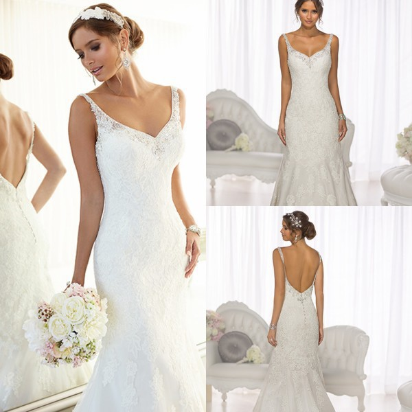 High Quality Spaghetti Straps Crystal Sequins Beads Mermaid Backless Wedding Dress