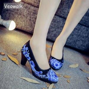 Image 1 - Veowalk/высококачественные атласные женские туфли лодочки с цветочной вышивкой Элегантные женские туфли в стиле ретро на среднем каблуке с круглым носком Zapatos Mujer