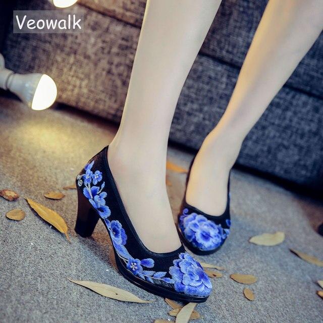 Veowalk/женские атласные туфли-лодочки с цветочной вышивкой на высоком каблуке средней высоты, элегантные женские туфли в стиле ретро с круглым носком, zapatos mujer