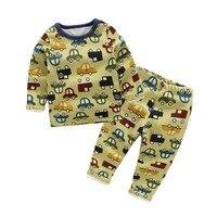 Hot Winter Brand Girls Boys Pajamas Sets Thick Keep Warm Plus Velvet Cartoon Car Baby Pyjamas