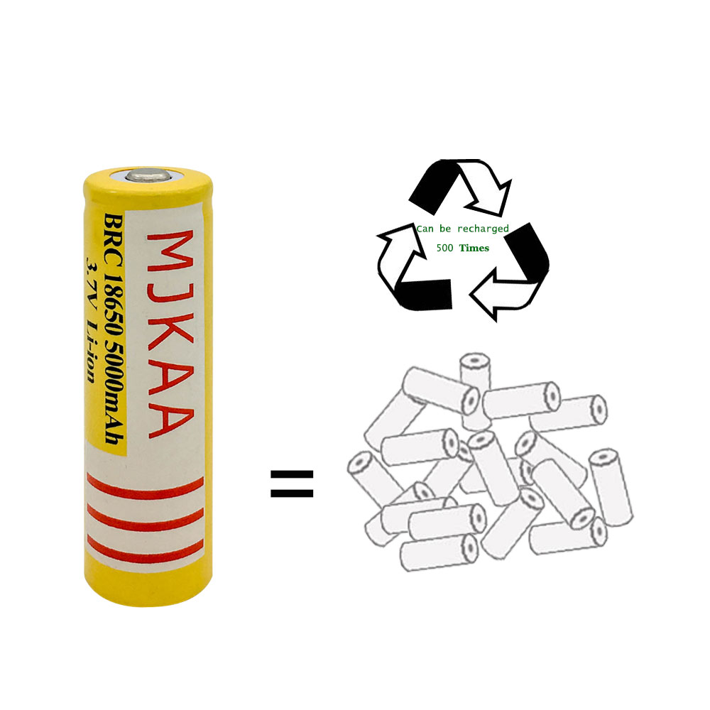 MJKAA 3 7v 5000mAh 18650 Rechargeable Battery not AA Battery Lithium Li ion Battery Bateria For Flashlight Headlamp 2Pcs Onsale in Rechargeable Batteries from Consumer Electronics