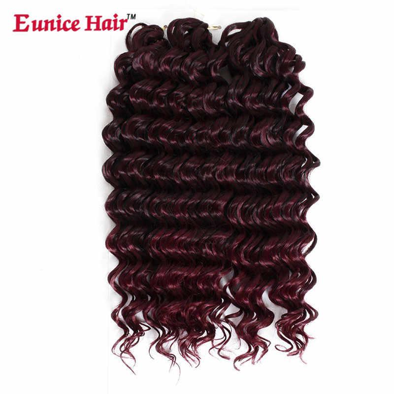 Trenzas de ganchillo de onda profunda de 10 ''3X pelo de ganchillo negro/marrón/Borgoña/gris extensión de cabello sintético Eunice pelo a granel 3 paquetes/lote