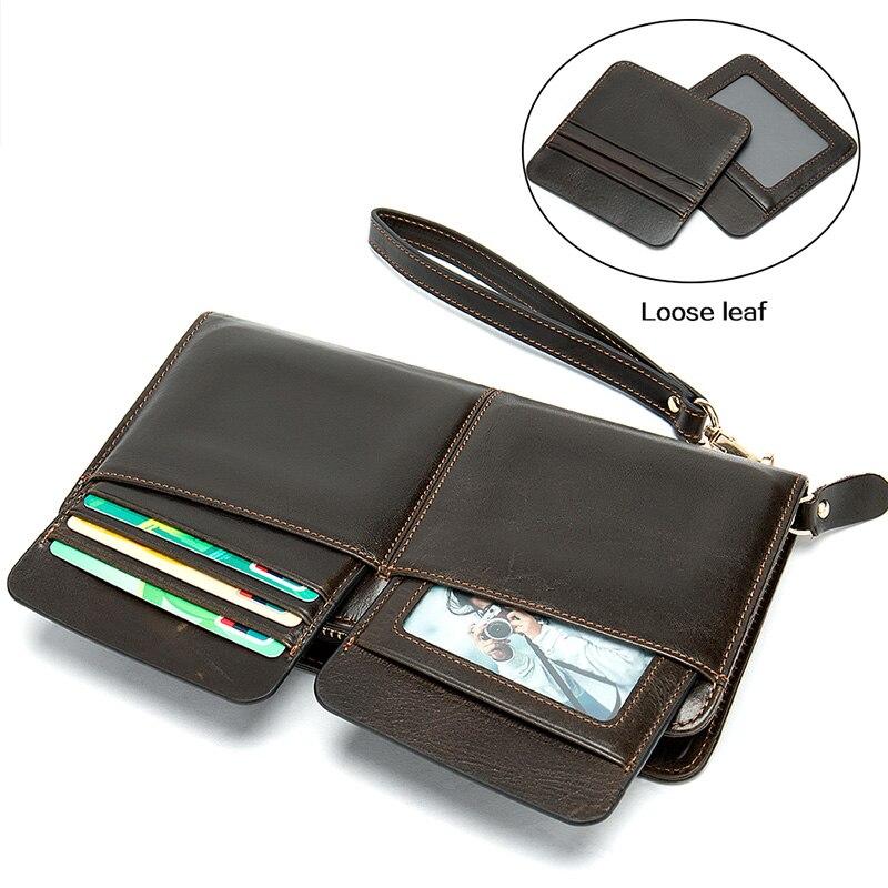 Pocket Wallet Purse Clutch-Bag Multi-Functional Business Genuine-Leather Long Men Top-Cow