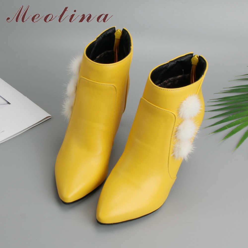 Meotina/женские ботильоны зимние сапоги с кроличьим мехом Для женщин шпильки, ботинки на молнии, пикантные осенние женские полуботинки черный, белый цвет большой размер 46