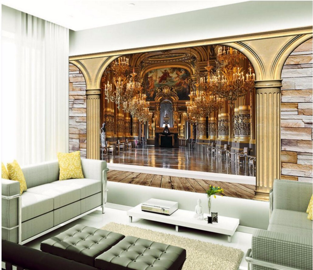 Custom mural 3d photo wallpaper European Roman column palace corridor decorate painting 3d wall murals wallpaper for wall 3 d custom 3d photo wallpaper for walls 3 d wall murals wallpaper 3d european style white building palace living room tv wall paper