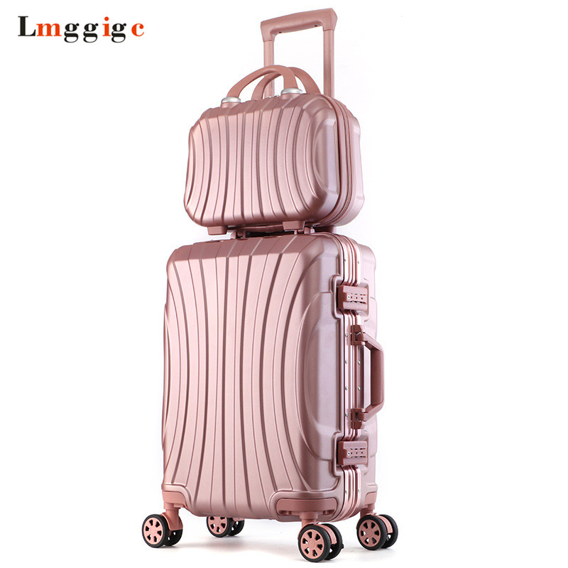 Aluminum frame Luggage Bag set,New Travel Suitcase with Spinner Rolling,Trolley Case Carry-On with wheel,PC Hard shell Box