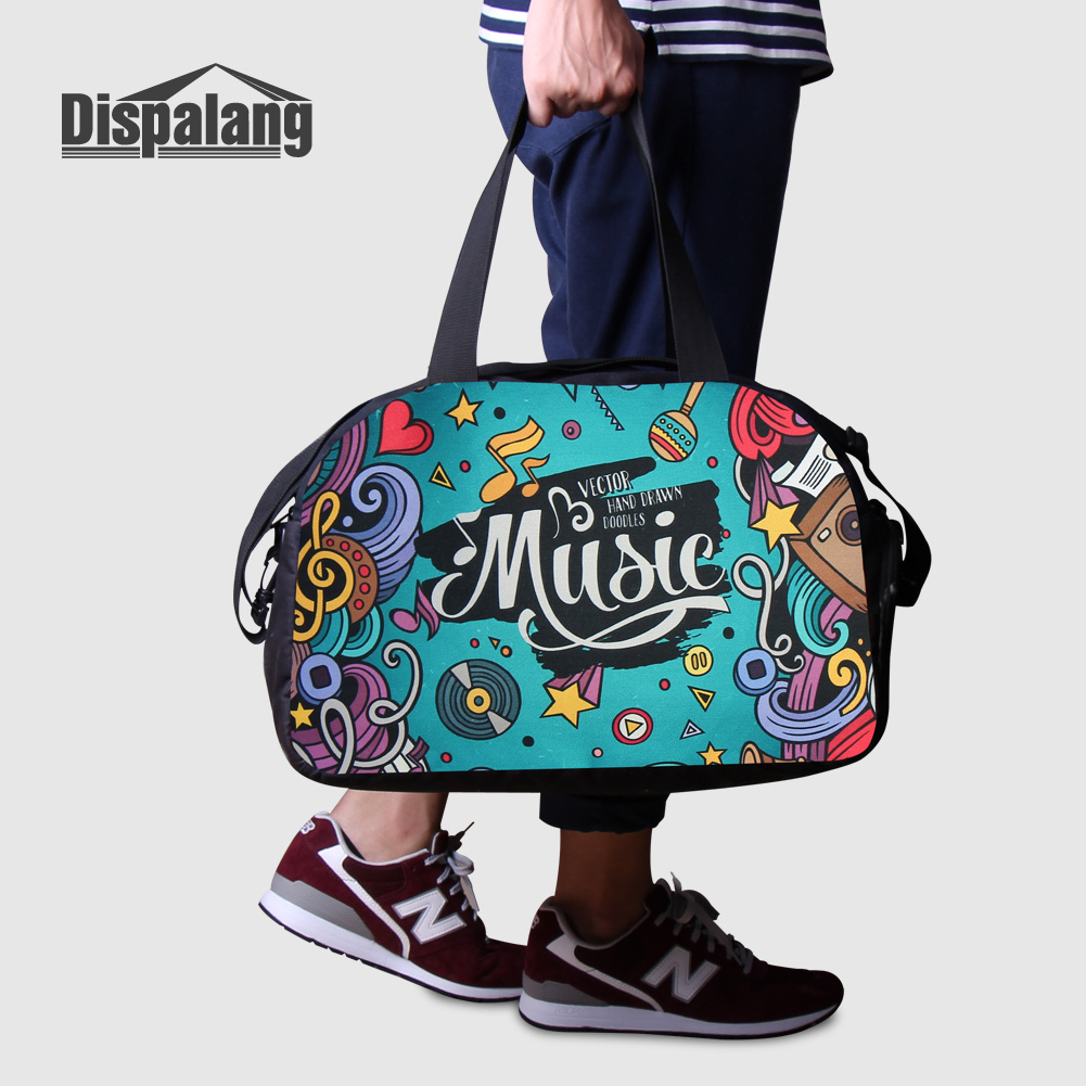 Us 29 99 40 Off Dispalang Cute Unicorn Women S Travel Duffle Bags With Shoes Pocket Animal Horse Printing Overnight Bag Men Portable Duffel In