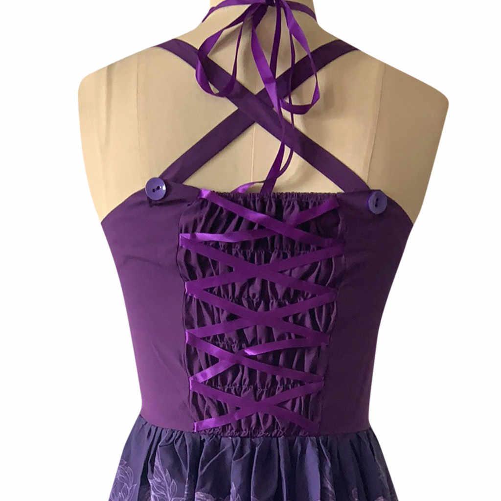 女性の夏のエレガントなチャームプラスサイズスカルレースプリントパンクスタイルストラップヘップバーンドレスビッグスイング膝丈長さドレス 50