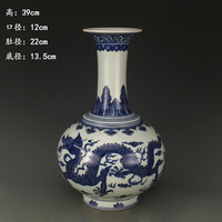 Antique QingDynasty porcelain vase,Blue Dragon Bottle,hand painted crafts,Home Decoration,adornment/Collection,free shipping