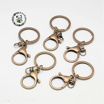 100pcs Antique Bronze Iron Lobster Clasp Key Chains Key Ring Findings Clasps For DIY Keychains Making 68mm F70