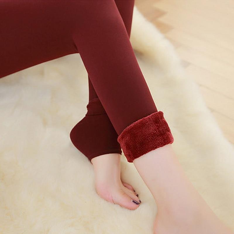 Women Casual Warm Winter Velvet Knitted Thick Slim Cashmere Elastic Leggings