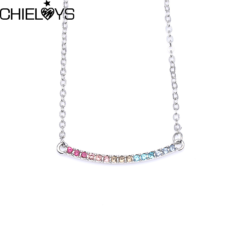 CHIELOYS Luxury Pandora Silver Plated Fashion Ornate Fun Love Arc Silver Plated Necklace Rainbow Clavicle Chain Wedding Jewelry