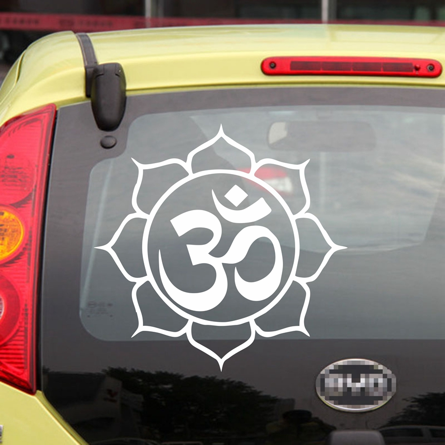 Lotus om yoga symbol car decal sticker vinyl buddhism buddha india die cut no background pick color and size