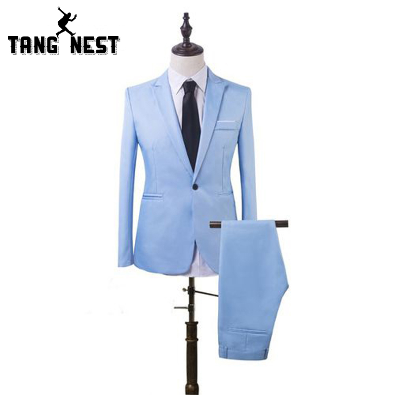 TANGNEST Men Casual Suits 2019 Spring Autumn Slim Wear Clothes For Men 2pcs Casual Suit Pants MSS018