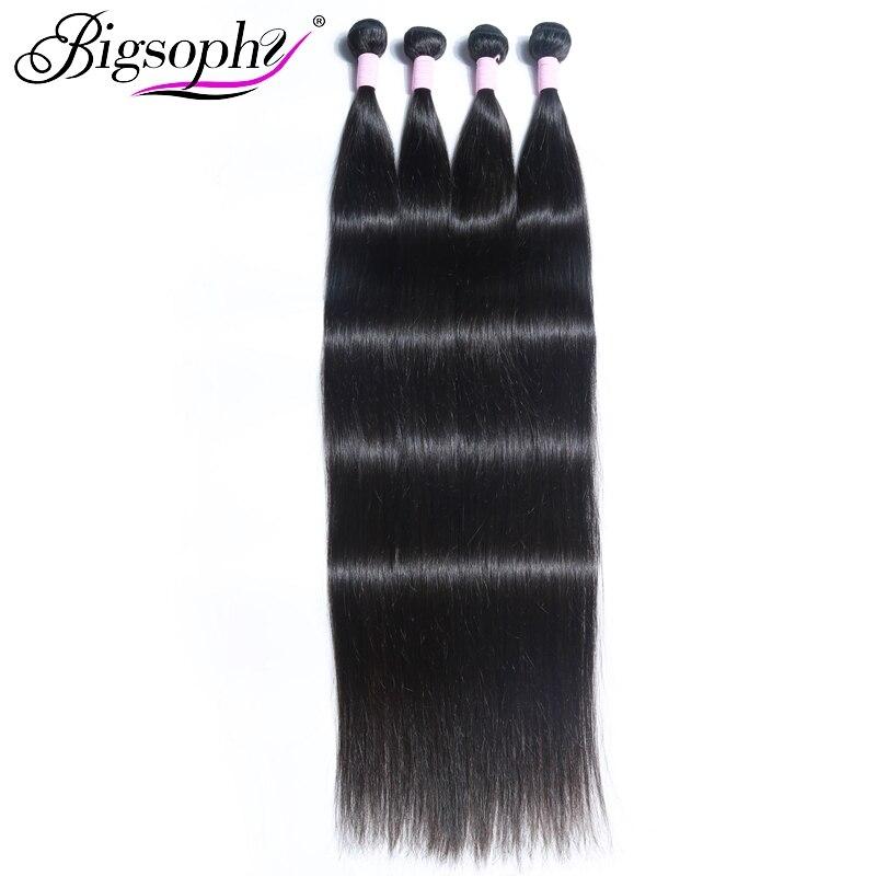 Bigsophy cabelo 40 polegadas feixes de cabelo humano cor natural 1 peça brasileiro/indiano/peruano cabelo reto longo comprimento remy cabelo