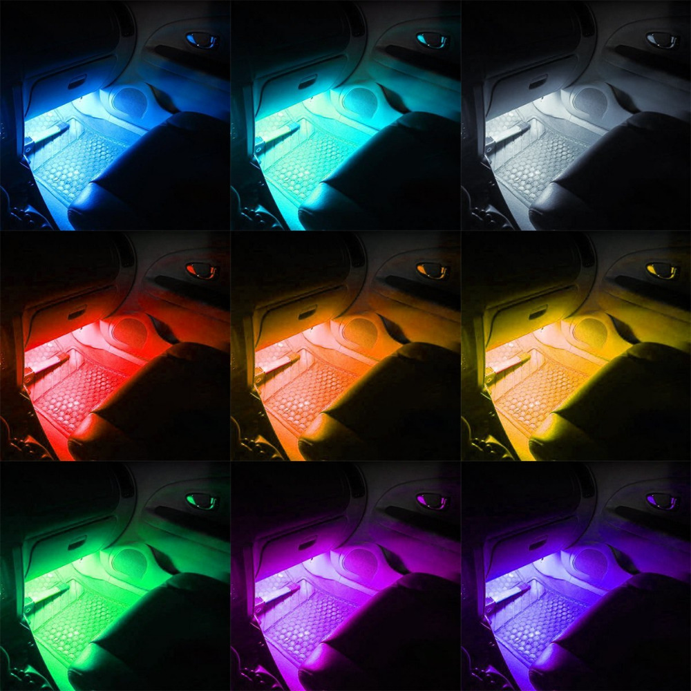 4Pcs36LEDs Colorful Car Interior LED Atmosphere Light DC12V Car Glow Neon Floor Decorative Strip Light Underdash Lighting 5