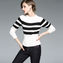 Striped elastic knit slim pullovers sweater 2018 new women autum winter long sleeve basic