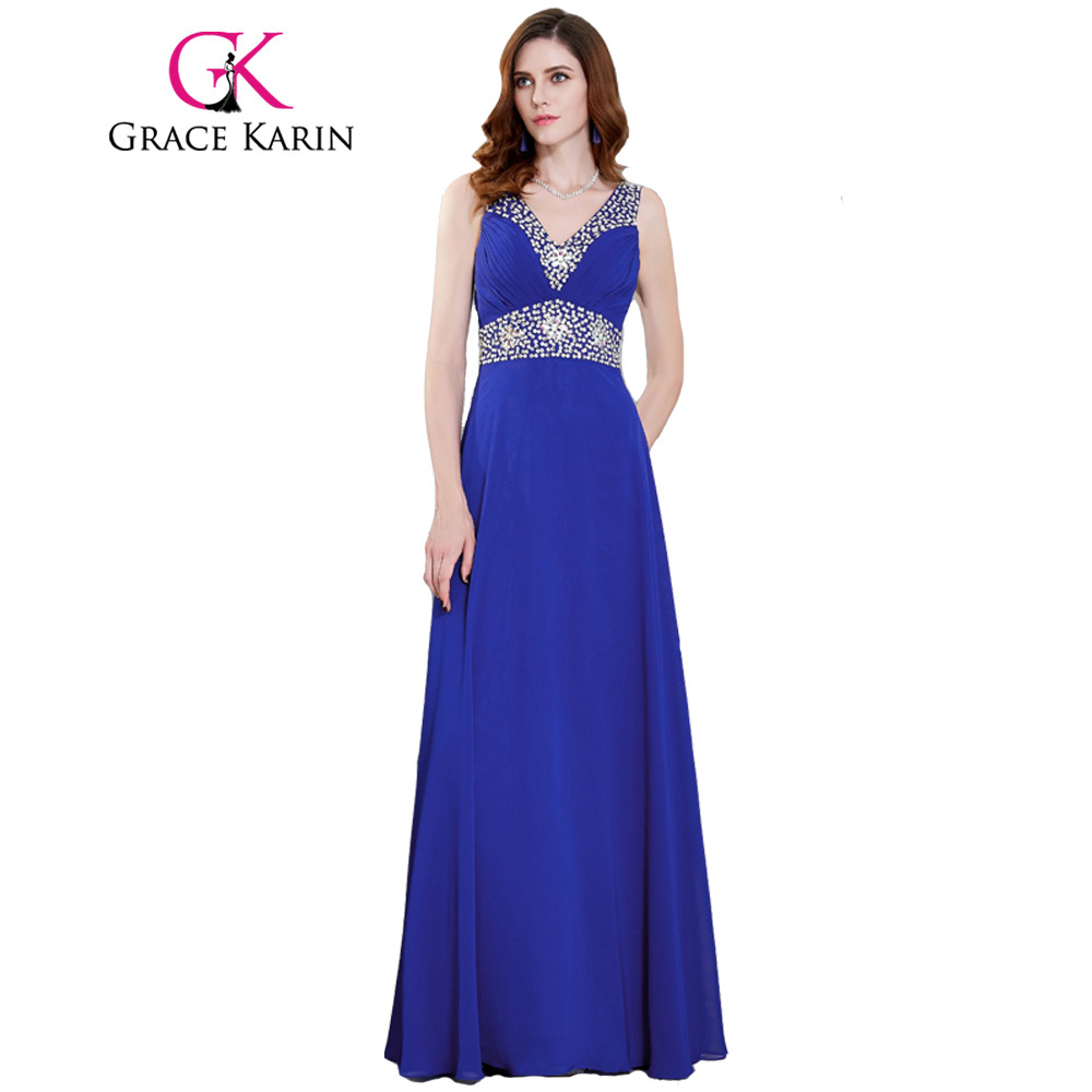 formal dresses for wedding grace karin royal blue prom dresses v neck chiffon sequin 4317