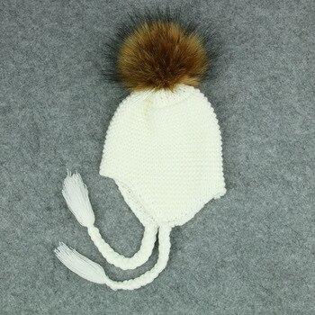 Gorros de invierno para niños 2018 gorros lindos para niños Pom gorros para niña  niño bebé caliente ganchillo de punto de piel sintética gorro sombrero e572db35a09
