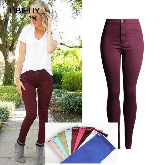 307538a9230 Joli élégant multi-couleur femmes Skinny crayon pantalon taille haute  élastique Slim Leggings décontracté pieds