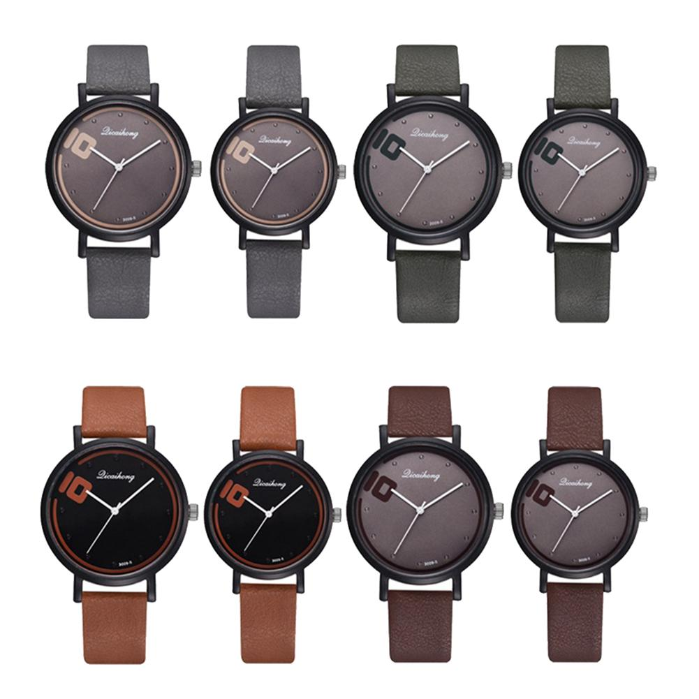 2019 Simple Men Women Analog Round Dial Faux Leather Band Couple Quartz Wrist Watch