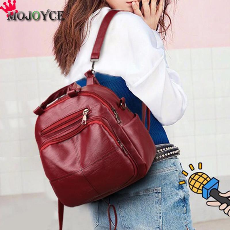 2018 Simple Elegant Women Soft PU Leather Backpack Casual Travel Student Shoulder Fashion Lady Zipper Black Backpack