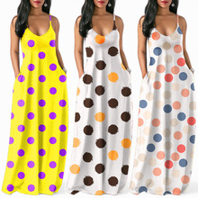 M independent station Europe and the United States explosion models sexy V-neck sleeveless sling color wave dot print dress