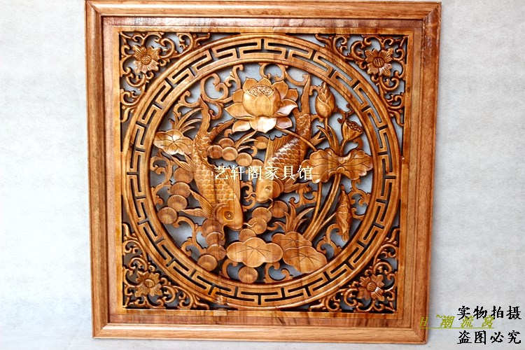 Dongyang woodcarving doors and Windows partition wall hanging Chinese antique wood square pendant 60cm May there be surpluses ev