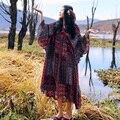 MX078 Чешские женщины лето кружева лоскутная v шеи flare рукавом длиной макси свободные плюс размер хлопок и лен винтаж boho платье