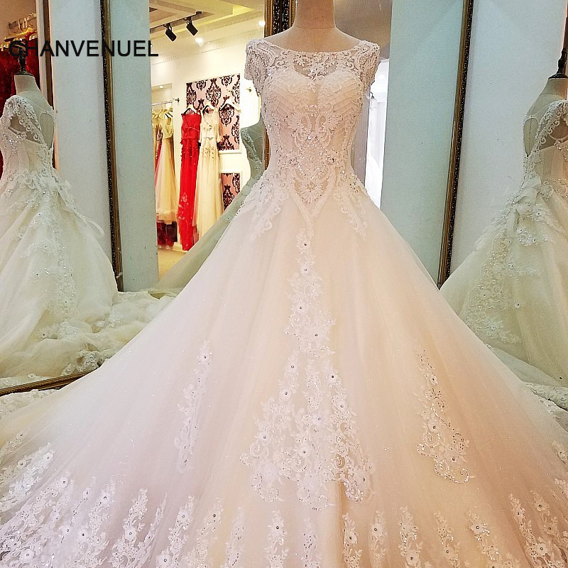 LS56637 long tail wedding dress ball gown lace up back short sleeves ...