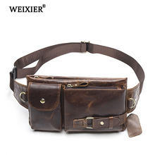 WEIXIER New Casual Soft Material Solid Color Genuine Leather Mens Messenger Bag High Quality Multi-Function