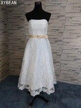 ! Good Quality 2015 Lace Strapless Tea Length Women Vestidos White / Ivory Wedding Dresses