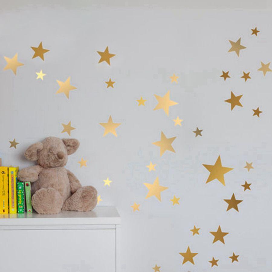 Gold stars wall decal vinyl stickers-  golden Star Kids Rooms Wall Art Nursery Decor Stickers