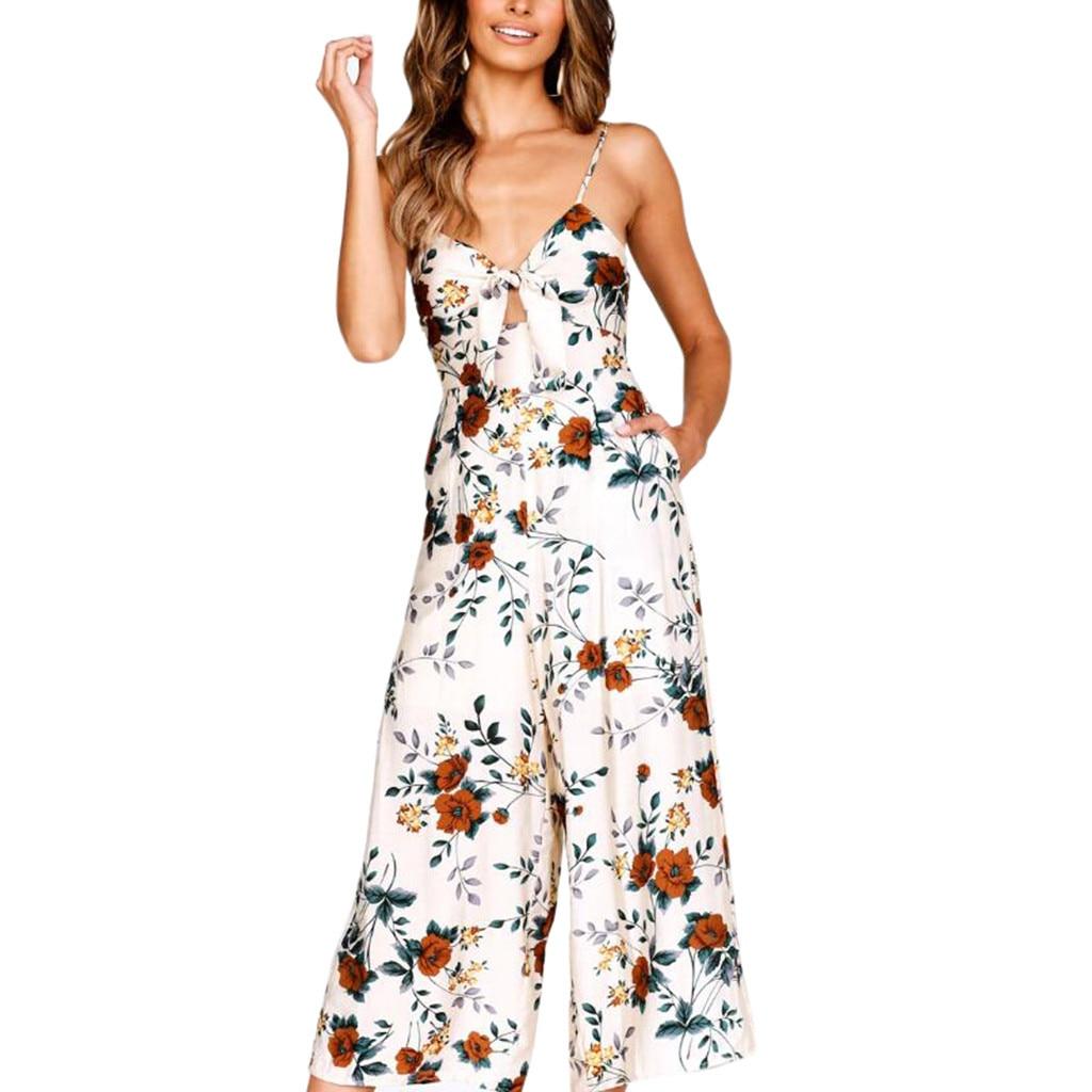 Monos Largos Mujer Pantalon Largo Womens V-Neck Sleeveless Spaghetti Strap Backless Bow Floral Print Long Ladies Jumpsuit