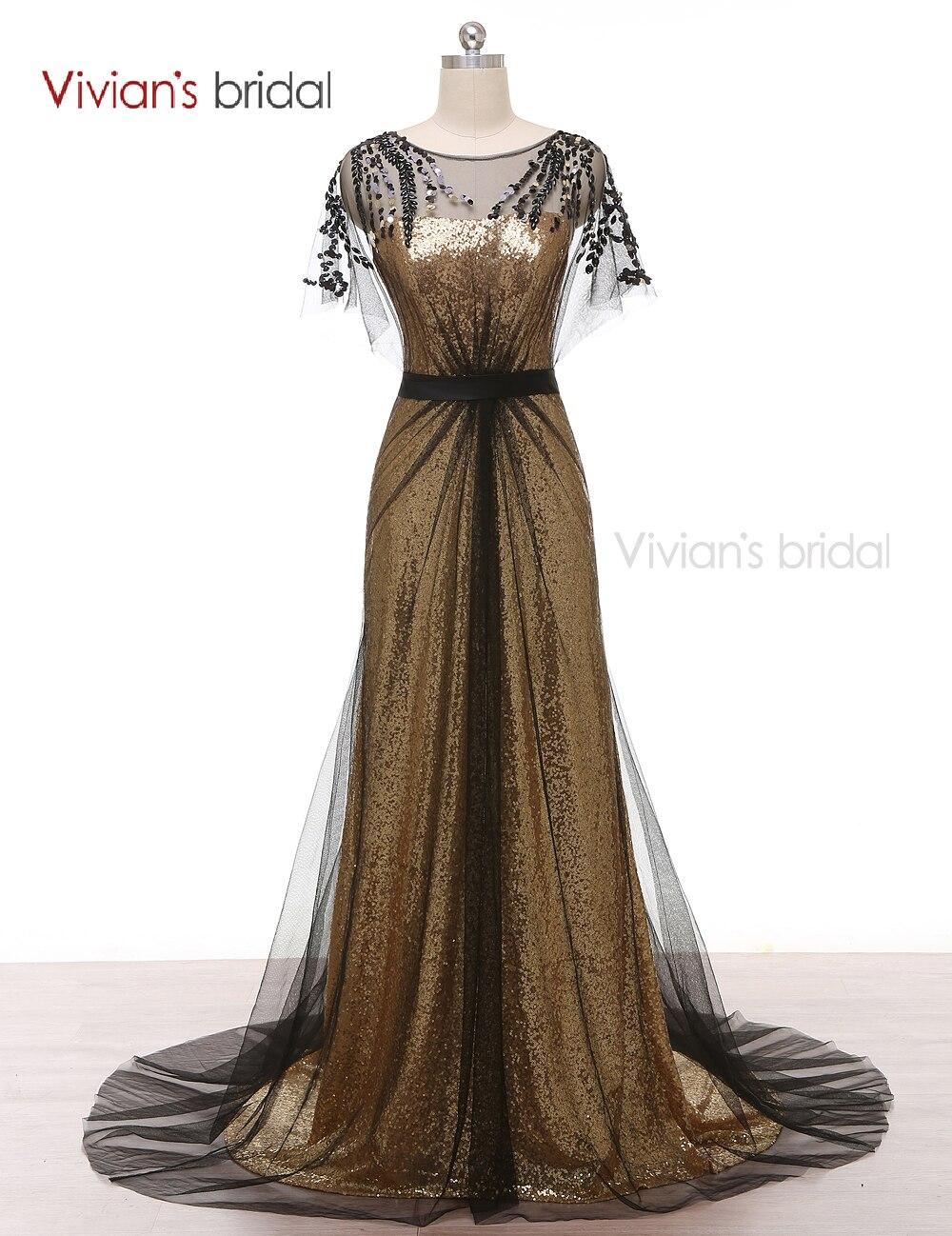Вечернее платье Vivian's Bridal A Line Золотое кружево с пайетками и бисером Вечерние платья из черного тюля ED220