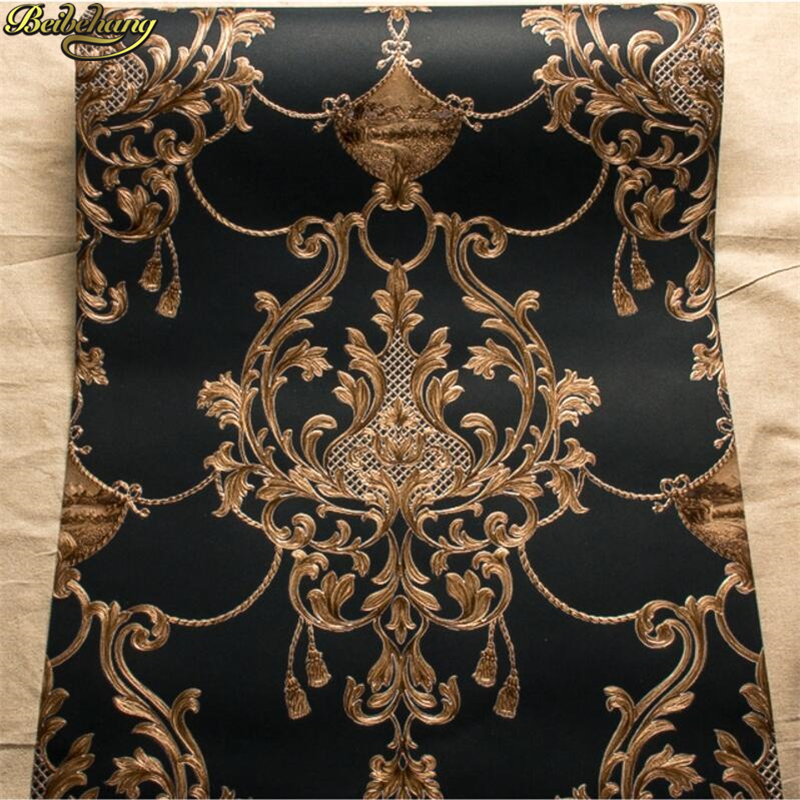 beibehang High-end European luxury living room bedroom background wall AB version of non-woven wallpaper 3D solid thick beibehang wall paper pune wallpaper european damascus ab edition high environmental non woven wallpaper living room bedroom