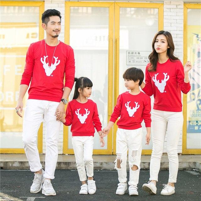 2019 nueva ropa navideña para las familias de manga larga