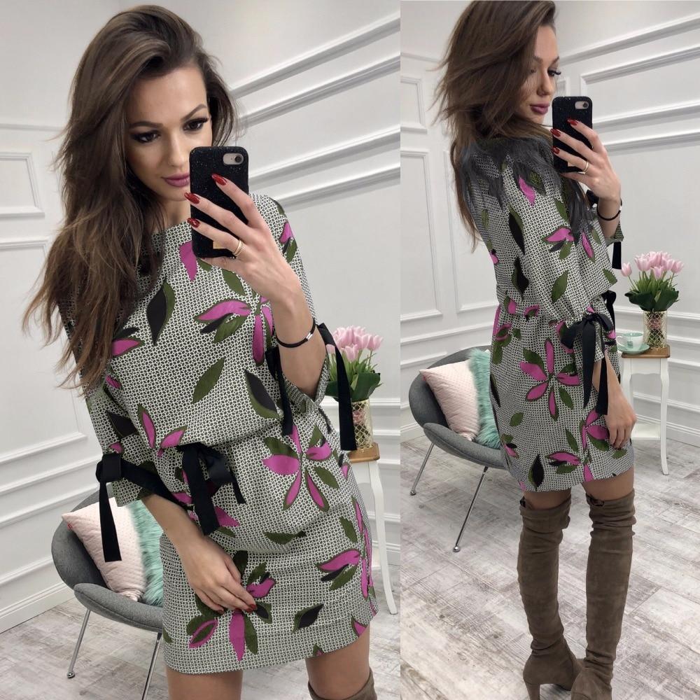 2018 Fashion Summer Autumn Women Floral Print Bow Drawstring Mini Dress Ladies Streetwear Elegant Casual Flare Sleeve Dresses