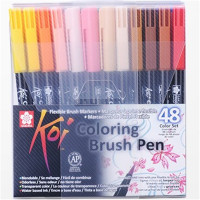 Coloring Brush Pen 48 Color Set Flexible Brush Marker Water Color Pen Liquid Ink Painting Supplies
