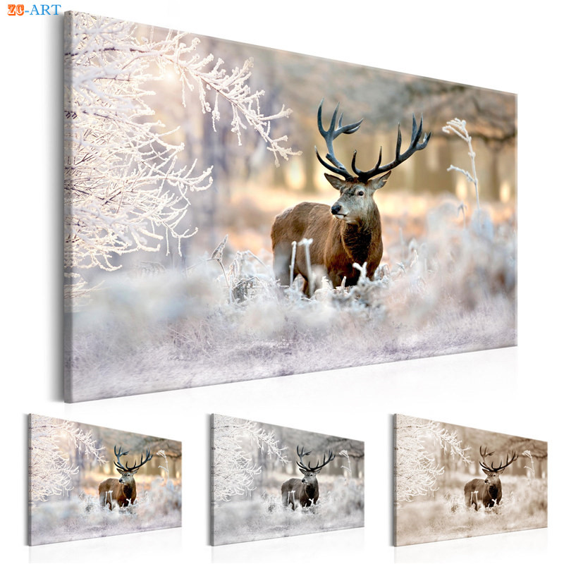 Nordic Style Nature Poster Deer Art Print Forest Landscape Canvas Painting Wall Art Wall Painting Home Winter Decor