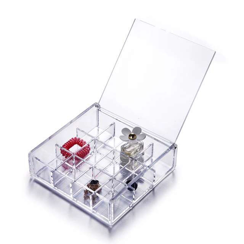 12 Grid Desktop Jewelry Box Accessories Earrings Makeup Organizer Holder Storage Box with Cover