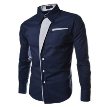 2017 NEW Autumn Casual Male Long Sleeve Stripe Shirts Social Blouses Slim Fit Shirts