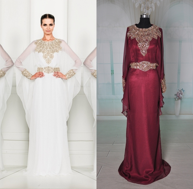 0afe1a94e1e8 CW2185 Fancy Real Sample Gold Beaded Bat Long Sleeve Burgundy Flowy Chiffon  Evening Dress for Muslim