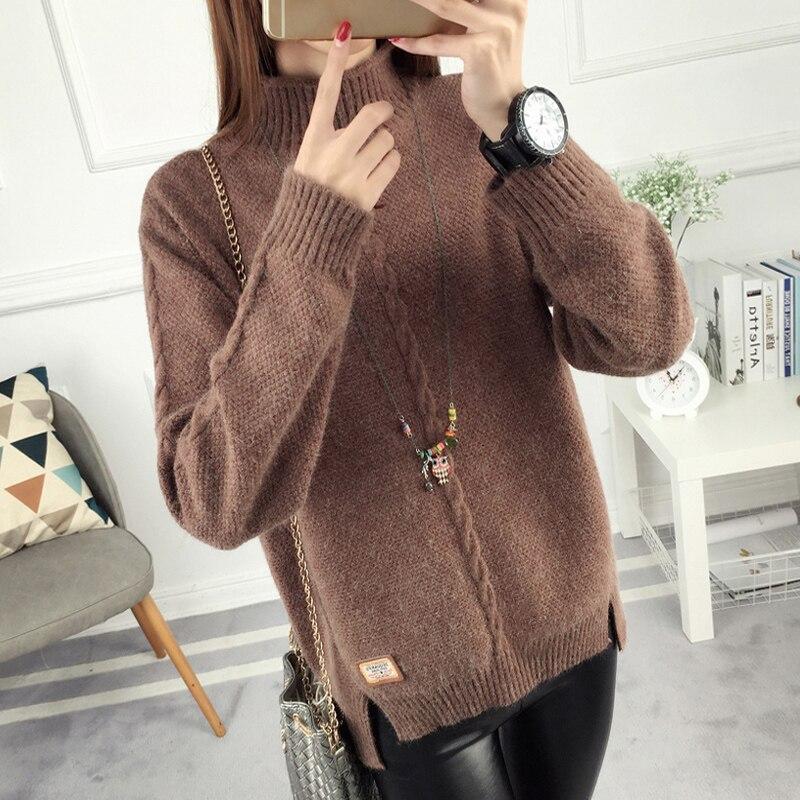 Женская высоким воротником свитера скидка рекламные новые короткие наборы зимняя короткие свободные свободные задолго до женщин одежда