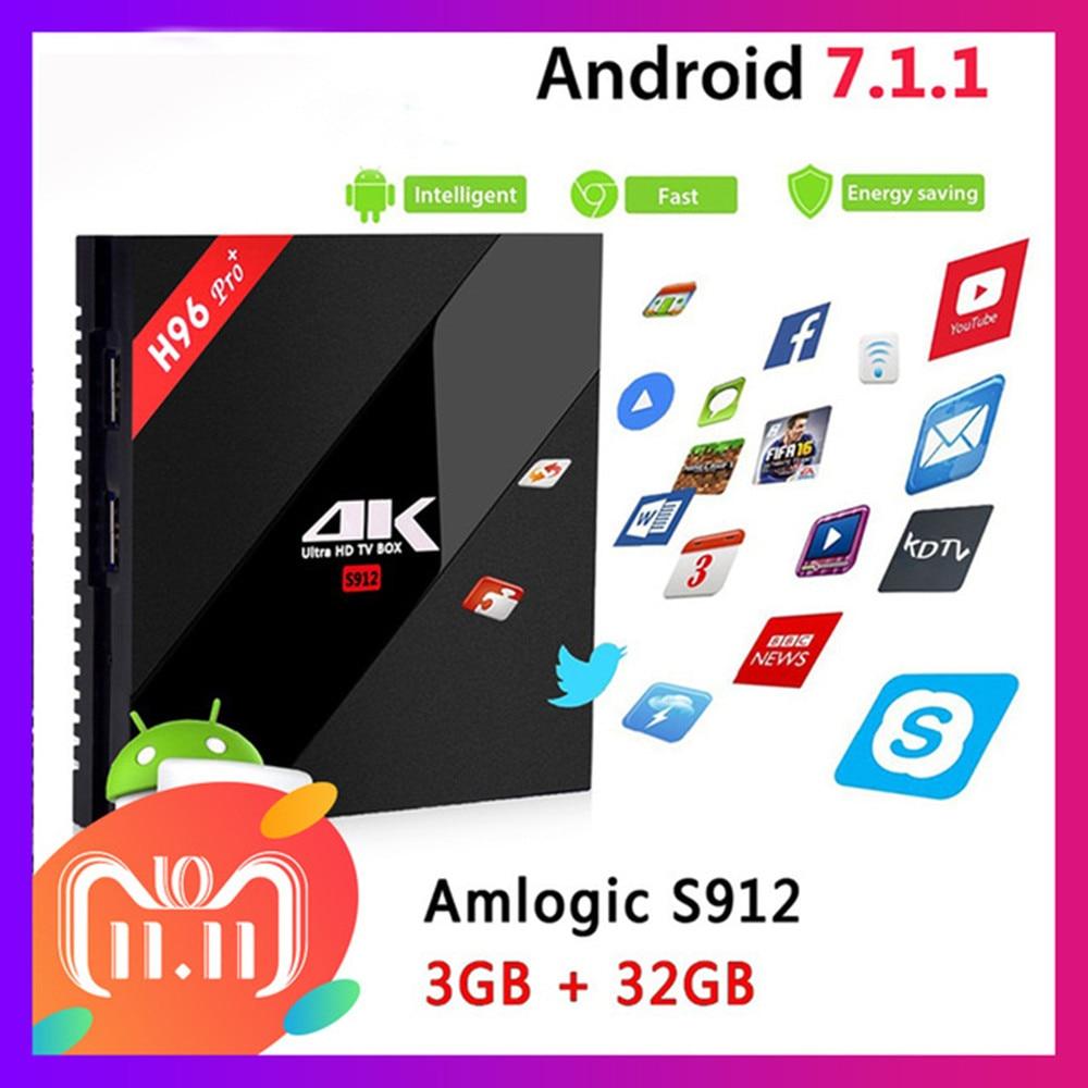 H96 Pro+ Android 7.1 TV Box 3G/32G Amlogic S912 Octa Core 64Bit 2.4G/5G Wifi 4K BT4.1 HD Media Player Set Top Box